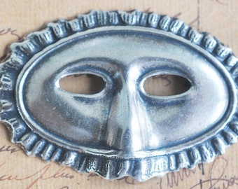 Venetian mask brass stamping, Sterling Silver Finish