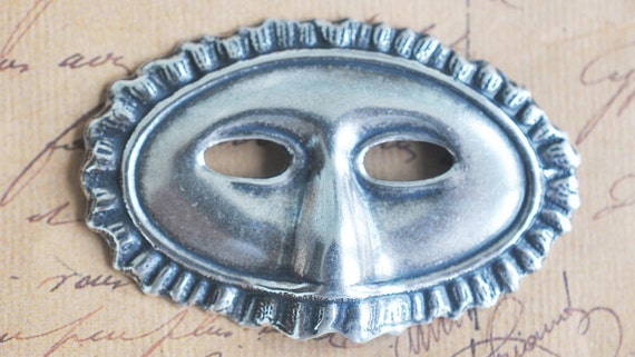 Venetian mask brass stamping, Sterling Silver Finish