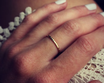 Gold ring, gold stacking ring, gold filled ring, stacking ring, textured ring, midi ring, stackable ring, faceted gold ring