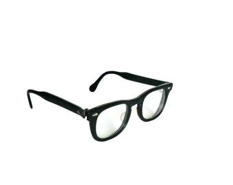 Vintage Eyeglasses 1950s Mid Century Black Frames - American Optical - Horn Rimmed Style
