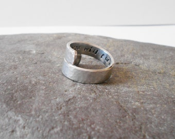 hidden message wrap ring, aluminium ring, personalized twist ring, adjustable ring, secret message wraparound ring, mens ring, womens ring