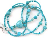 Heart of the Southwest- Beaded ID Lanyard- Magnesite Gemstones and Peacock Green Crystals (Magnetic Clasp)