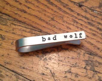 Bad Wolf Tie Bar, Billie Piper, Rose Tyler, Favorite Doctor Who Quote, I am the Bad Wolf, Unique Incognito Nerd Gift For Him, Free Gift Wrap