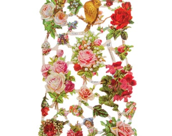 Vintage Victorian German EF relief scrap decoupage pictures embossed and die cut for scrapbooking and card making 7162
