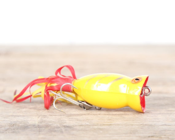 Fishing lure fishing decor yellow hula popper vintage for Fishing lure decor