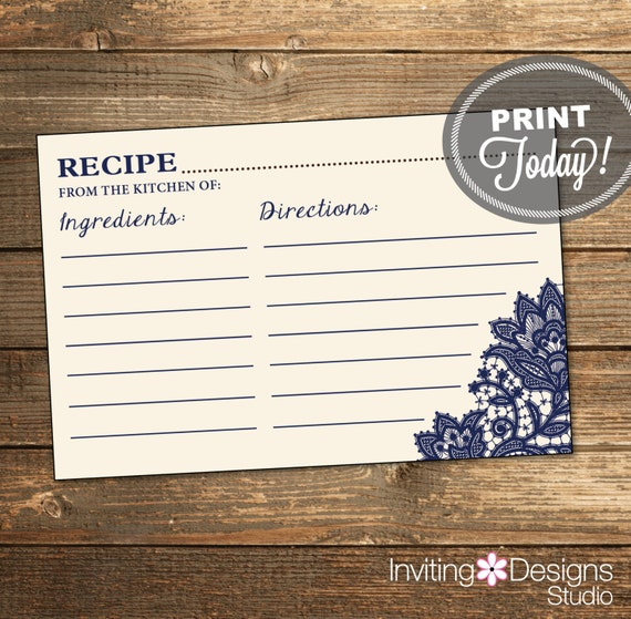 Wedding Shower Recipe Card - Navy Lace