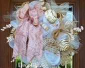 SHABBY CHIC Wreath with FRENCH Ribbon Bow
