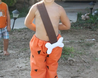 bam bam pants costume and club warm boy made out of fleece includes club