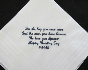 Wedding Handkerchief for the Groom from Mother of the Groom and Father of the Groom