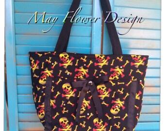 Skull handbag / Black Skull Tote Bag