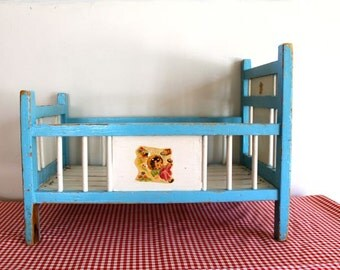 vintage 1950s doll bed - NAP TIME wooden babydoll bed