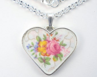 Broken China Necklace Pink Floral Rose Heart Pendant Vintage Charm 'Broken China' Porcelain Jewelry by Charmedware