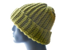 Wool - Blend Crocheted Big - Cuff Beanie in Grass Green, Medium to Large Size