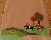 80s brown corduroy a-line skirt with fox hunting detail applique
