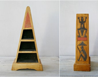 Aztec Triangle Wood Shelf, Ethnic Wooden Shelving, Vintage Tribal Decor, Rustic Storage Stand, Free People Boho Crystal Shelf, Red Black