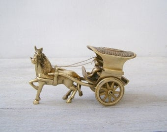 Antique Horse and Carriage Brass Miniature, Western Americana Farm Country Passenger Figurine, Metal Art Sculpture, Man Cave Barware Decor