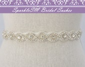 Braided Rhinestone Bridal Sash, Beaded Crystal Sash, Bridesmaids, Wedding Gown Belt Rhinestone Bridal Belt, SparkleSM Bridal Sashes, - Evie