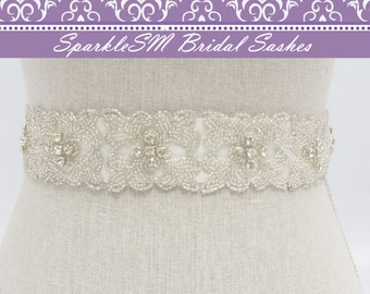 Beaded Bridal Belt, Rhinesotne Bridal Sash, Crystal Bridal Belt Sash, Bridal Dress Sash, Wedding Sashes, SparkleSM Bridal Sashes, Geraldine