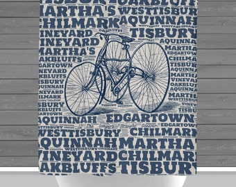 Martha's Vineyard Shower Curtain: Vineyard Typography Bicycle | 12 Eyelet/Button Hole | Size and Pricing via Dropdown
