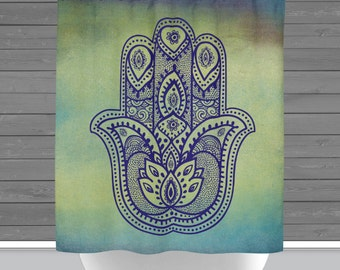 Hamsa Shower Curtain: Yoga Mandala Hand OM | 12 Eyelet/Button Hole | Size and Pricing via Dropdown