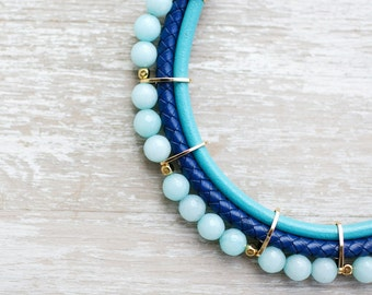 Meteorites Statement Pastel colors Jade Necklace by Pardes