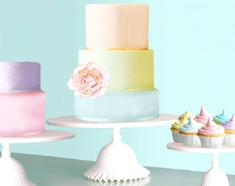 "16"" Cake Stand for Pastel Weddings / Cupcake Stand for Pastel Cupcakes / Ruffle Cake Stand / Wedding Cake in Pastels"
