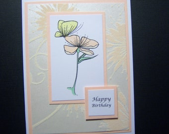 Delicate Butterfly on Flower Birthday Card