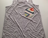 Women's Racerback Light Wight Loose Fitted Tank with Aztec Pocket