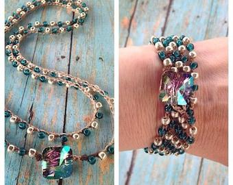 HOLIDAY SPECIAL Swarovski Crystal Bohemian 5x wrap or Double Necklace Paradise shine