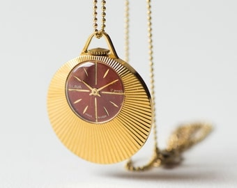 Vintage watch pendant Glory, necklace gold plated, women's watch round burgundy face, Russian watch pendant