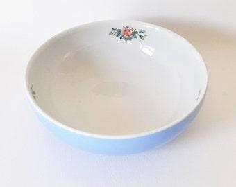Vintage Hall China Vegetable Bowl Dish Baby Blue Floral Bowl Vintage China Serving Collectable Hall China Kitchen Bowl Serving