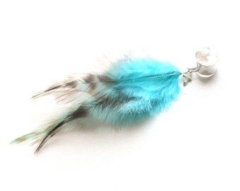 Feather Ear Cuff - Turquoise Cross