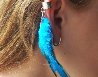 Feather Ear  Cuff - Dark Turquoise
