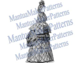 Victorian Dress Engraving, Instant Digital Download, 1871 #5