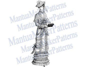 "Victorian Dress Engraving, 11"" tall, Instant Digital Download, JPG & PNG, 1879 #7"