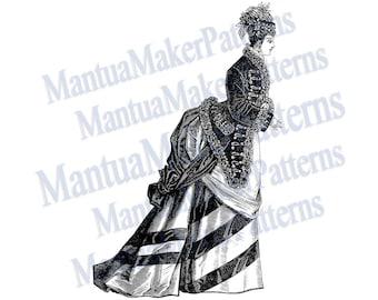 Victorian Dress Engraving w/ Sloped Bustle, Instant Digital Download, JPG & PNG, 1875 #1