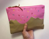 Donut clutch | Pink and Tan with Sprinkles
