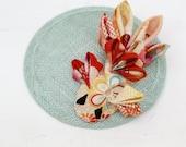Aqua & Red Fish Fascinator - Mermaid Headpiece - Statement Fascinator - Mermaid Fascinator - Aqua Button Hat - Japanese Goldfish Hair Comb