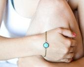 Blue Bracelet - Bracelet - Polka Dot - Retro Bracelet - Art Jewelry - Bronze Bracelet - Turquoise Bracelet (5-3B)
