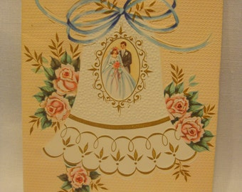 Mid Century wedding card by Sunshine roses, wedding bell bride and groom