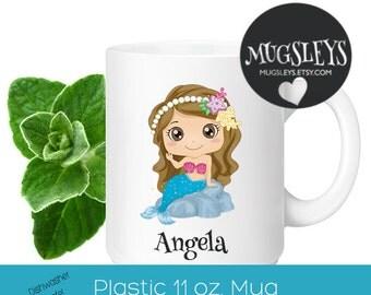Mermaid Custom Kids Cup, Plastic Toddler Mug, Mermaid Birthday Party, Personalized mug for little girl, Beach Cup