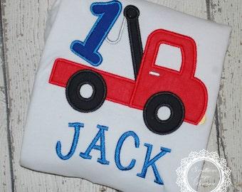 Tow Truck Birthday Shirt - 1st Birthday - ONE Birthday Shirt - First Birthday - Boys Applique Designs