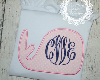 Girl's Whale Monogram Applique - Summer Shirt - Monogram - Girl's Summer Design