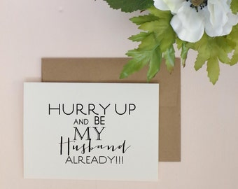 Hurry up!!! Wedding Day Greeting Card for your Groom.  Wedding card. Groom.  Wedding Day card for Groom.