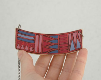 Colorful geometric necklace wood necklace geomertic necklace
