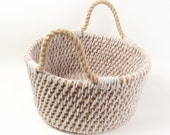 SALE! 50% OFF! Rope Basket Jute Rope Bag Rope Bag Tan Taupe Nautical Rope Basket Beige Straw Basket Woven Rope Bag Nautical Rope Basket