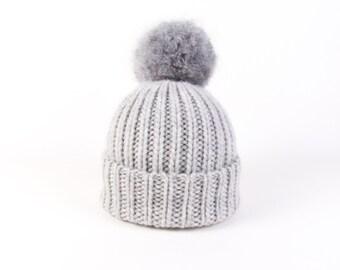 SALE! 50% OFF! Beanie Pom Bobble Hat Light Grey Beanie Grey Chunky Knit Pompom Beanie Chunky Bobble Hat Chunky Knit Wool Light grey Hat Tam