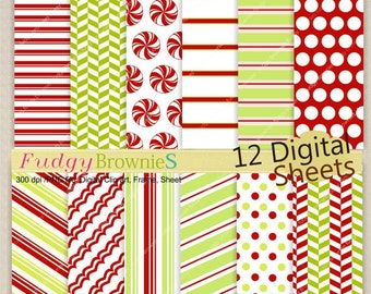 ON SALE Christmas Digital Paper Background 7.5x11 Candy Wrap Digital Scrapbook,Christmas Paper,No.142 printable,green red,instant download