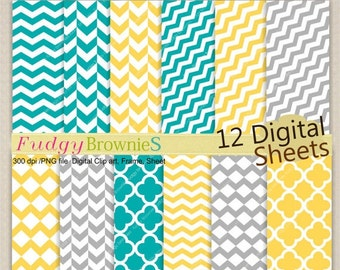 "ON SALE Digital paper scrapbook 12""x12"", Digital background , No.74 /2 printable background, yellow, grey, teal , Instant download"