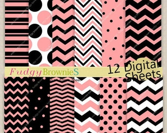 ON SALE Digital Paper Backgrounds 7.5x11/ Pink Black Digital Paper, Chevron design,No.167 printable background,pink chevron,instant downl